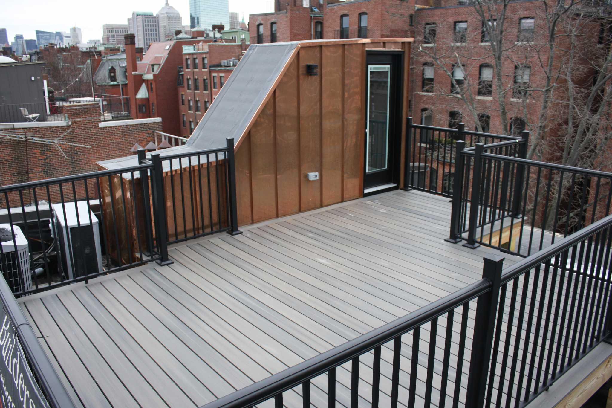 back bay roof deck copper headhouse custom handrails